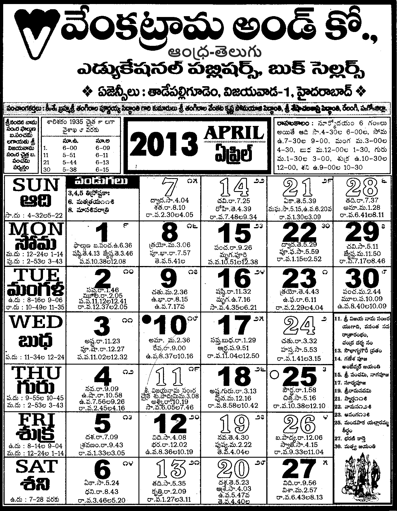 April Venkatrama Co Calendar : April andhra telugu